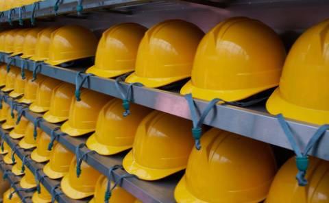Mining hard hats on shelves