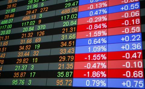 Giant plasma display of live stock market prices.