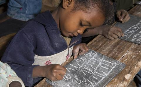 Child at school in Madagascar
