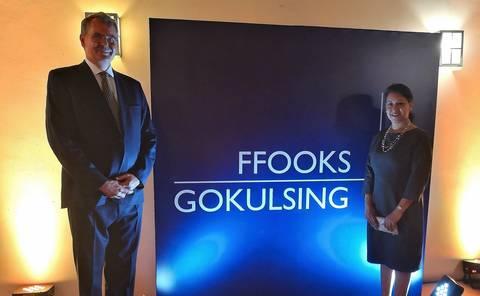 John & Preeti celebrating at Ffooks Gokulsing launch party